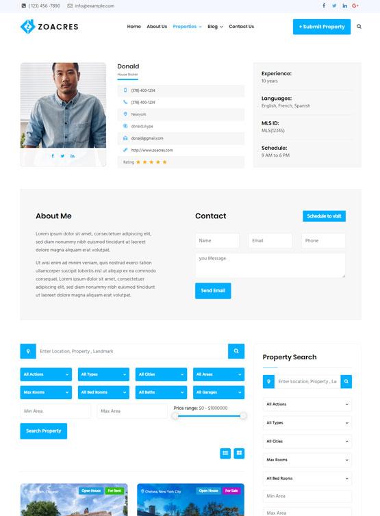 Real estate WordPress theme agent template