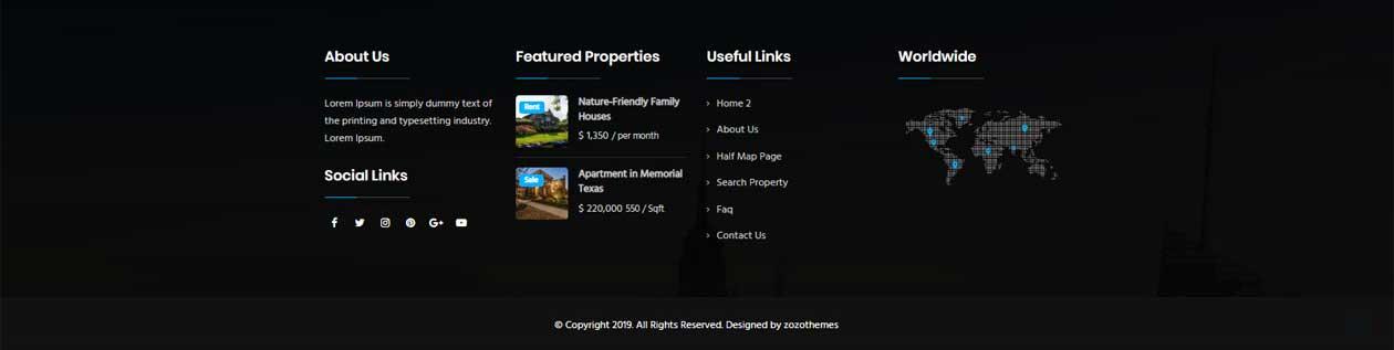 Real estate WordPress theme footer variations