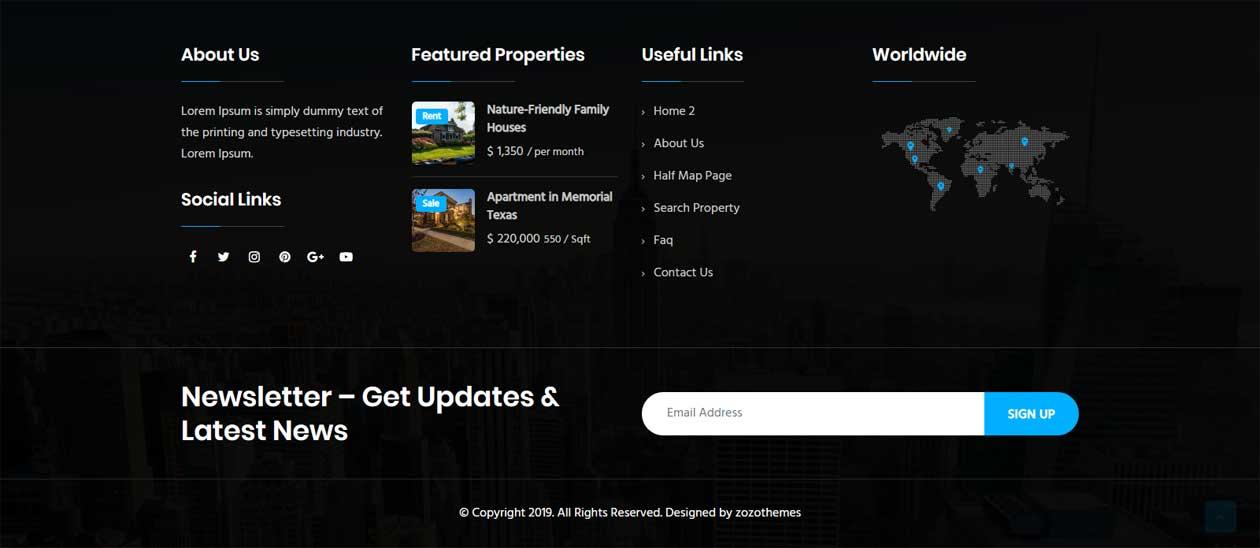 Real estate WordPress theme footer variation