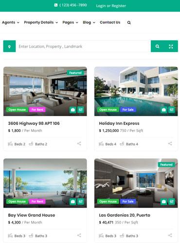 Real estate WordPress theme grid view