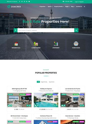 Real estate WordPress theme clean design