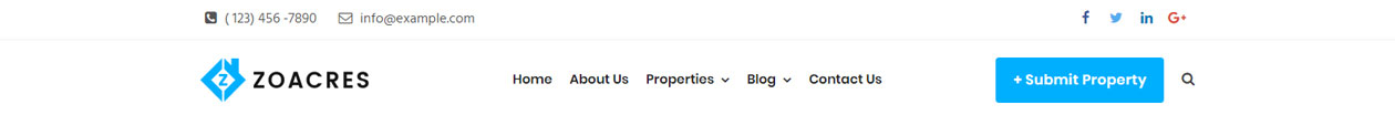 Real estate WordPress theme header variation