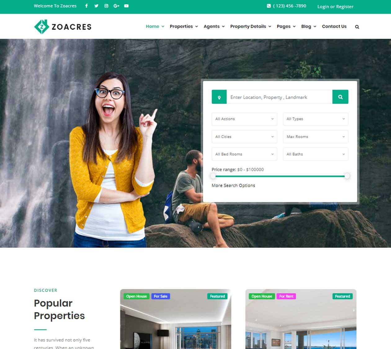 Popular Real estate WordPress theme