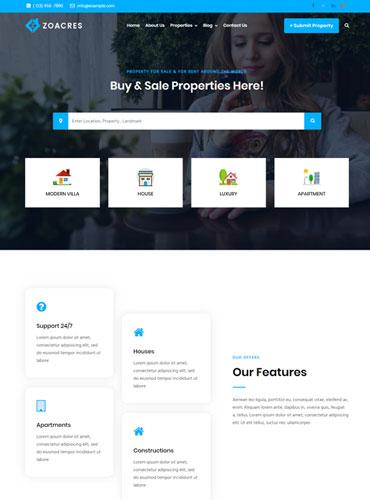 Real estate WordPress theme colorful design