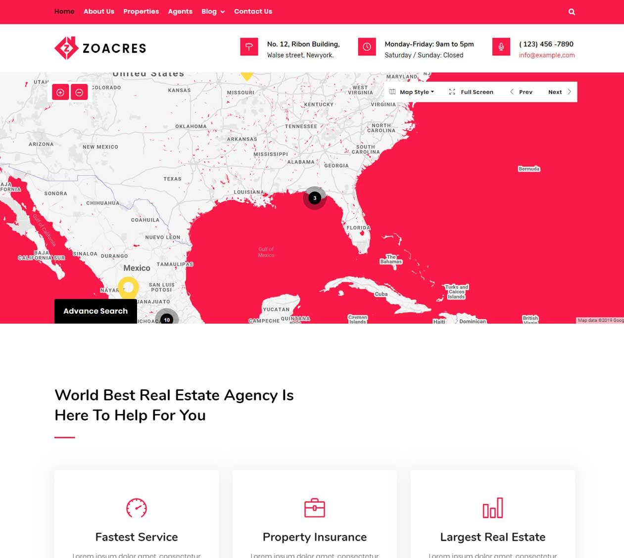 multi color Real estate WordPress theme