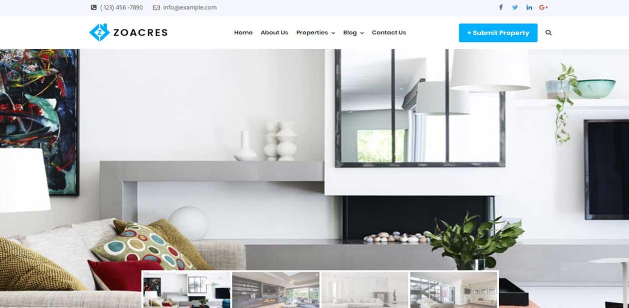 Real estate WordPress theme with cool image slider