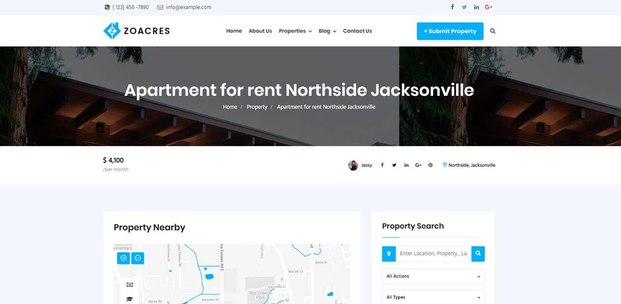 Real estate WordPress theme single property variation